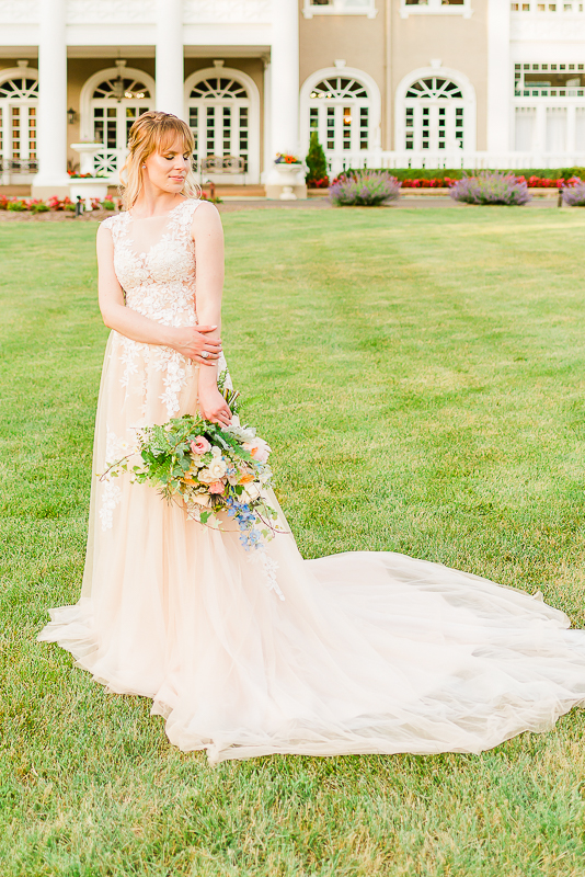 blush gown on lawn
